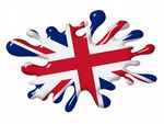 3D Shaded Effect SPLAT Design With Union Jack British Flag Motif External Vinyl Car Sticker 100x150mm